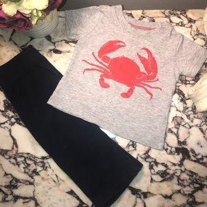 Carter's Set. Crab T-Shirt and Navy Fleece Pants